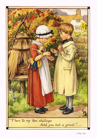 "Cicely Mary Barker Print -  ""TO MY TEN SHILLINGS, ADD YOU BUT A GROAT"" - Offset Lithograph - c1930"