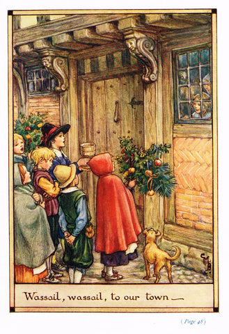 "Cicely Mary Barker Print -  ""WASSAIL, WASSAIL TO OUR TOWN"" - Offset Lithograph - c1930"