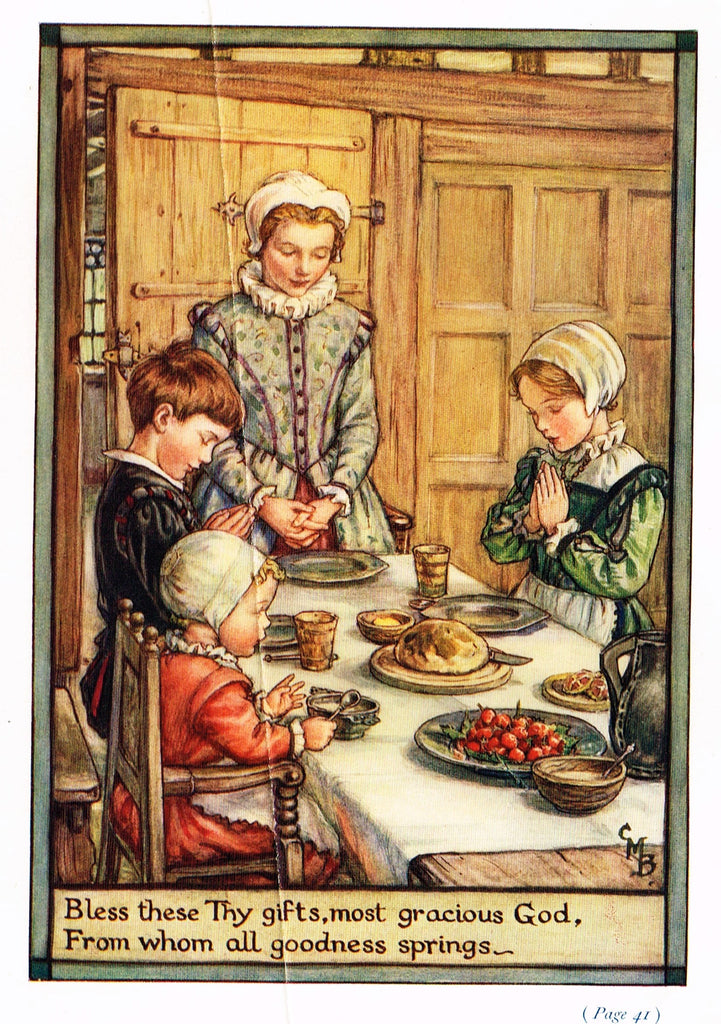 "Cicely Mary Barker Print -  ""BLESS THESE GIFTS, MOST GRACIOUS GOD"" - Offset Lithograph - c1930"