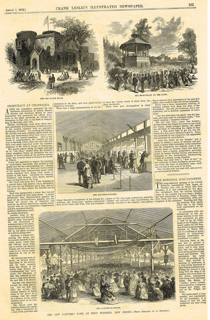 "Leslie's Illustrated Newspaper - 1872 - ""THE NEW SCHUTZEN PARK AT WEST HOBOKEN, NEW JERSEY"""