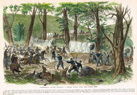 Leslie's Hand Colored - 1896 - CONFEDERATE CAVALRY ATTACKING  JASPER, TENN.