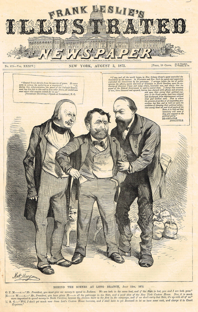 "Leslie's Illustrated Newspaper - GRANT FRONT PAGE, 1872 - ""BEHIND THE SCENES AT LONG BRANCH"""