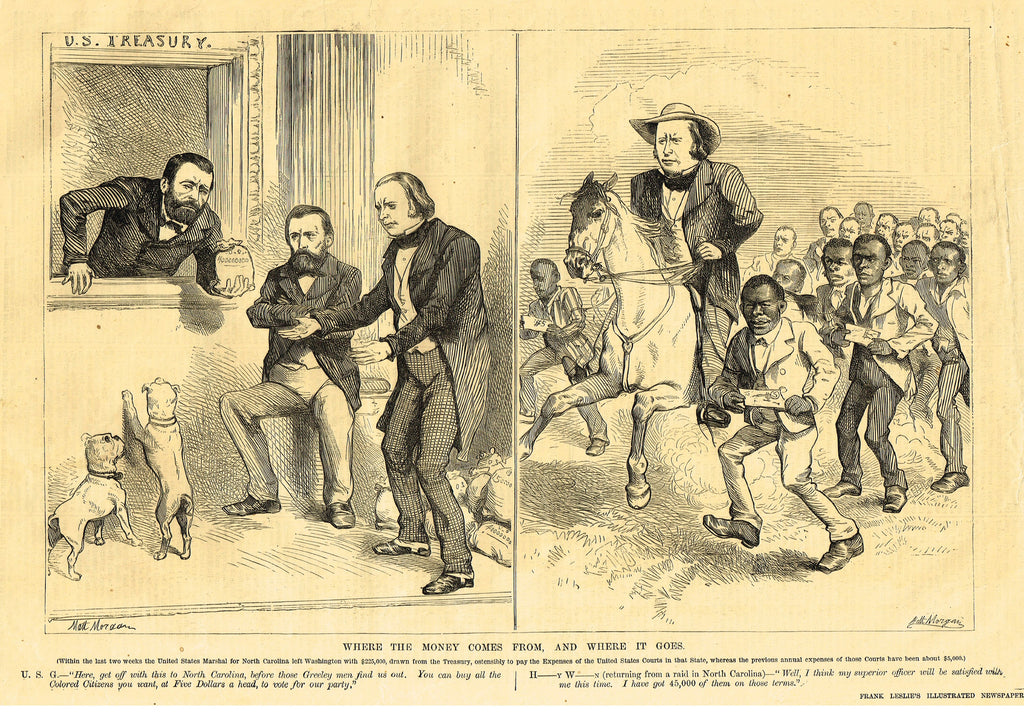 "Leslie's Illustrated Newspaper - 1872 - ""WHERE THE MONEY COMES FROM, AND WHERE IT GOES"""