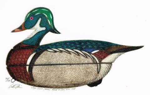 "Arthur Nevin Decoy Print -  ""WOOD DUCK DECOY, NEUSE RIVER, N.C. 1915"" - Colored Litho  - 1915"