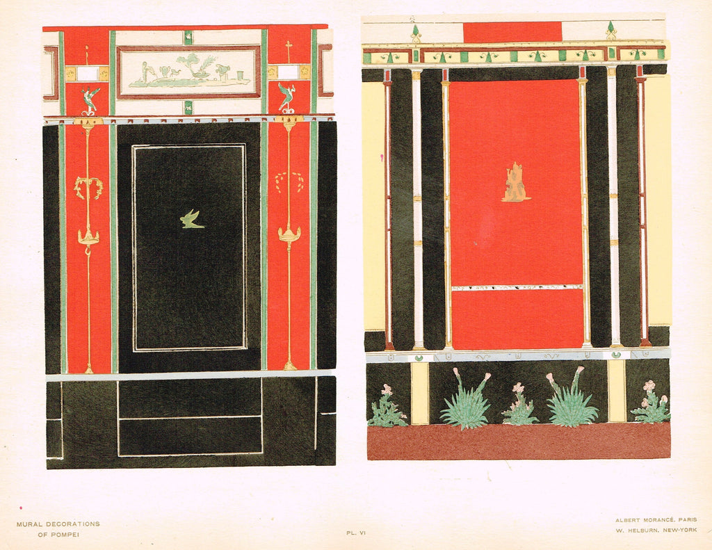 "Pompeii Decoration -  ""PANELS FROM THE EDIFACE OF EUMACHUS"" -  Chromolithograph - 1924"
