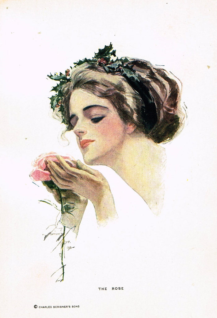 "Fisher's American Girls - 1912 - ""THE ROSE"" - Offset Lithograph"