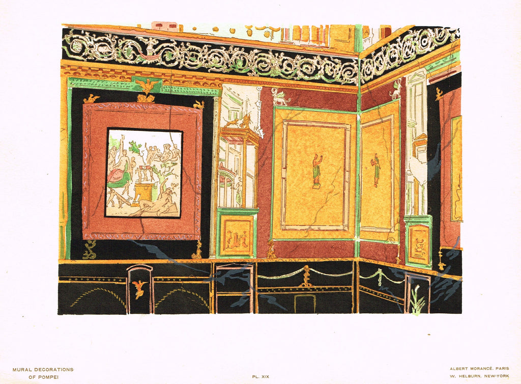 "Pompeii Decoration -  ""PANELS FROM HOUSE OF SIRICUS"" -  Chromolithograph - 1924"