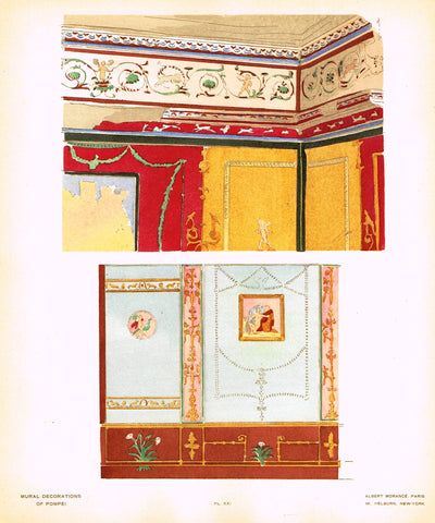"Pompeii Decoration -  ""PANEL FROM ARCHITECT MAZOIS"" -  Chromolithograph - 1924"