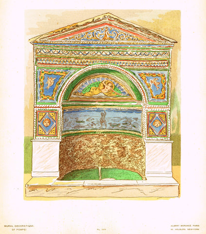 "Pompeii Decoration -  ""FOUNTAIN OF ENAMAL MOSAIC FROM HOUSE OF THE BEAR"" -  Chromolithograph - 1924"