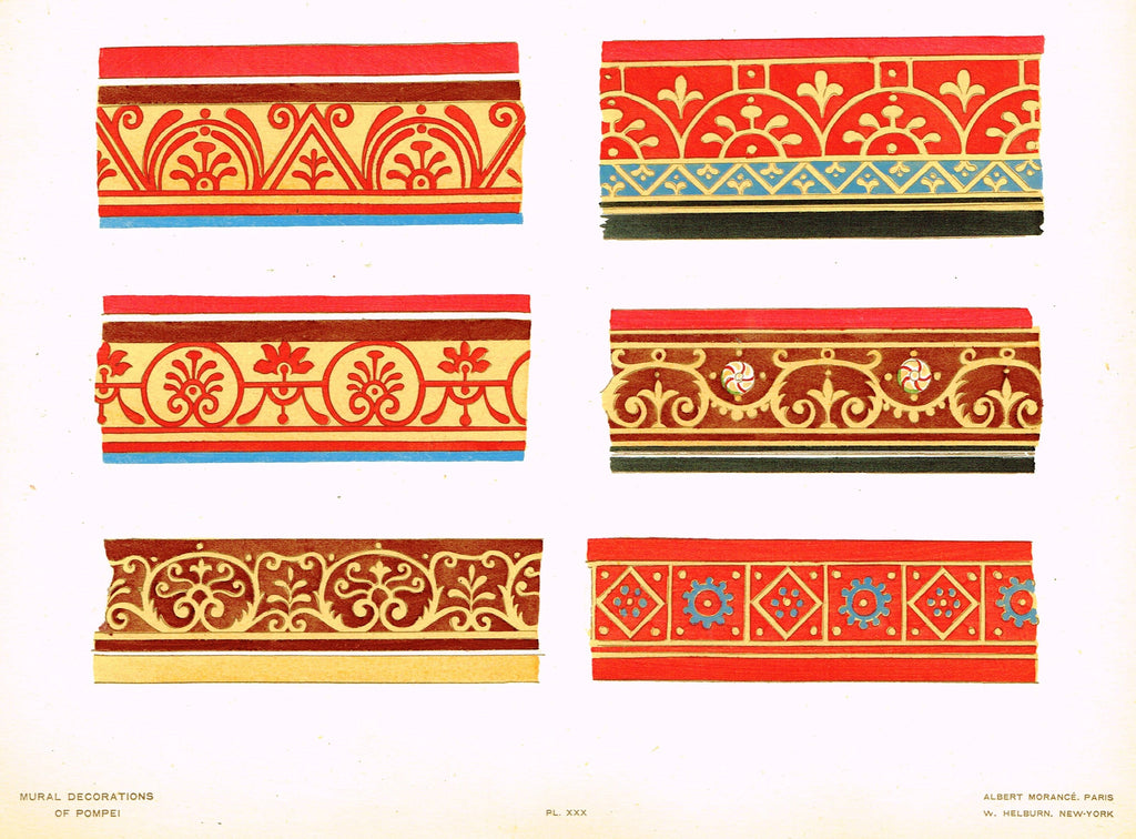 "Pompeii Decoration -  ""FRAGMENTS OF DECORATIVE FRAMING BANDS"" -  Chromolithograph - 1924"