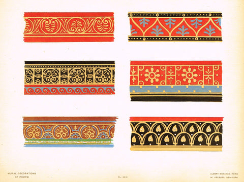 "Pompeii Decoration -  ""SOLID COLOR FRAGMENTS OF FRAMING BANDS"" -  Chromolithograph - 1924"