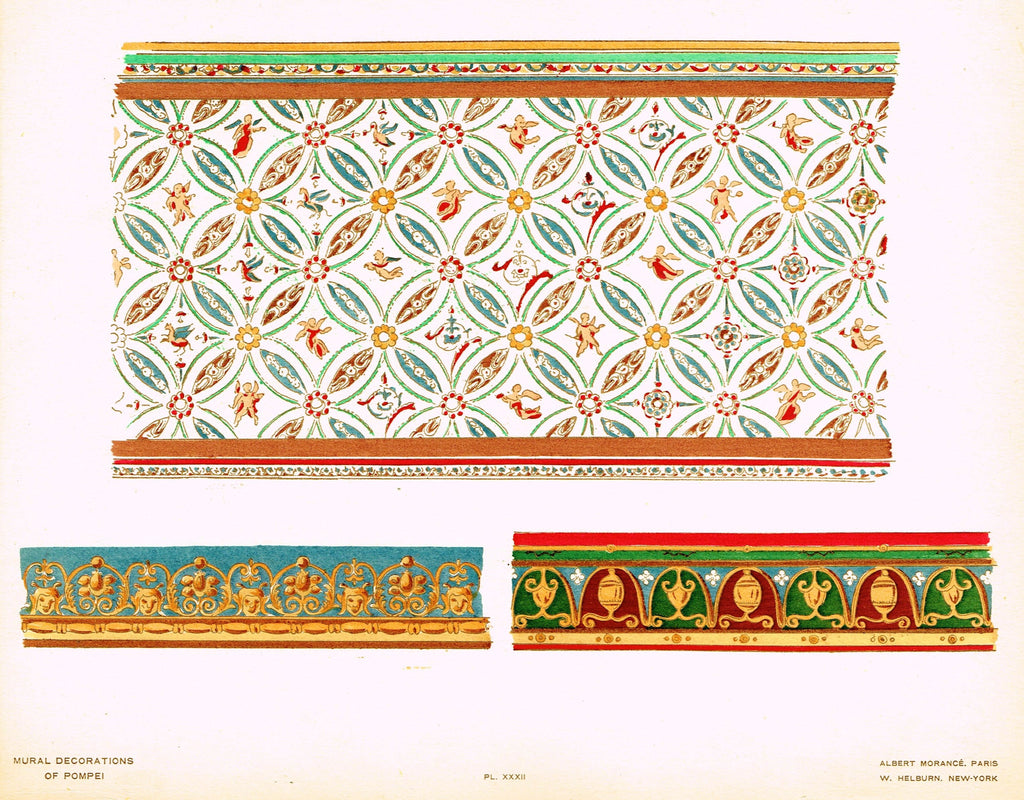 "Pompeii Decoration -  ""GEOMETRIC DECORATION IN A HOUSE AT STABIES"" -  Chromolithograph - 1924"