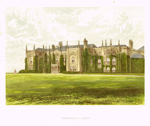 "Morris's County Seats - ""COMBERMERE ABBEY"" - Chromolithograph - 1866"