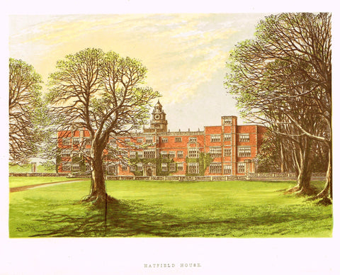 "Morris's County Seats - ""HATFIELD HOUSE"" - Chromolithograph - 1866"