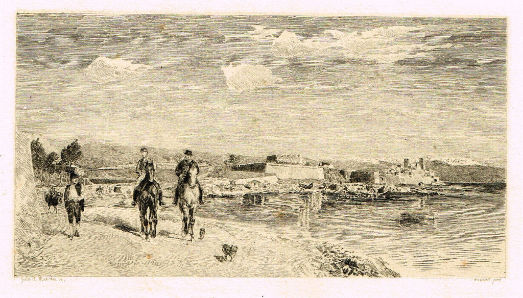 "Fine Art - Etching - ""ANTIBES"" by Manchon  - c1870"