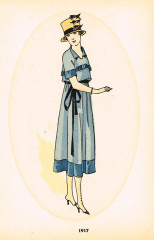 "La Mode Feminine Fashion Plate-  ""1917 B"" -  Chromolithograph - c1920"