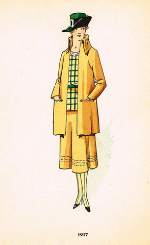 "La mode Feminine Fashion Plate-  ""1917"" -  Chromolithograph - c1920"