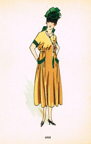 "La Mode Feminine Fashion Plate-  ""1918"" -  Chromolithograph - c1920"
