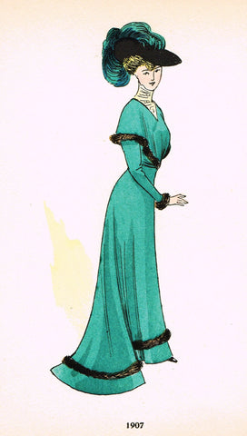 "La Mode Feminine Fashion Plate-  ""1907 C"" -  Chromolithograph - c1920"