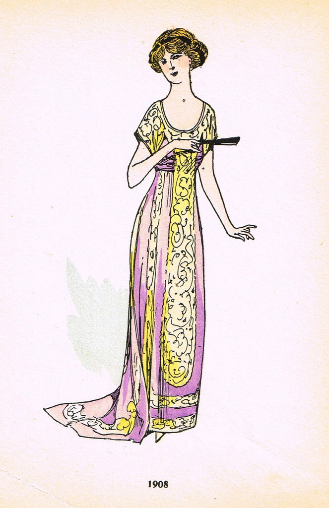 "La Mode Feminine Fashion Plate-  ""1908"" -  Chromolithograph - c1920"