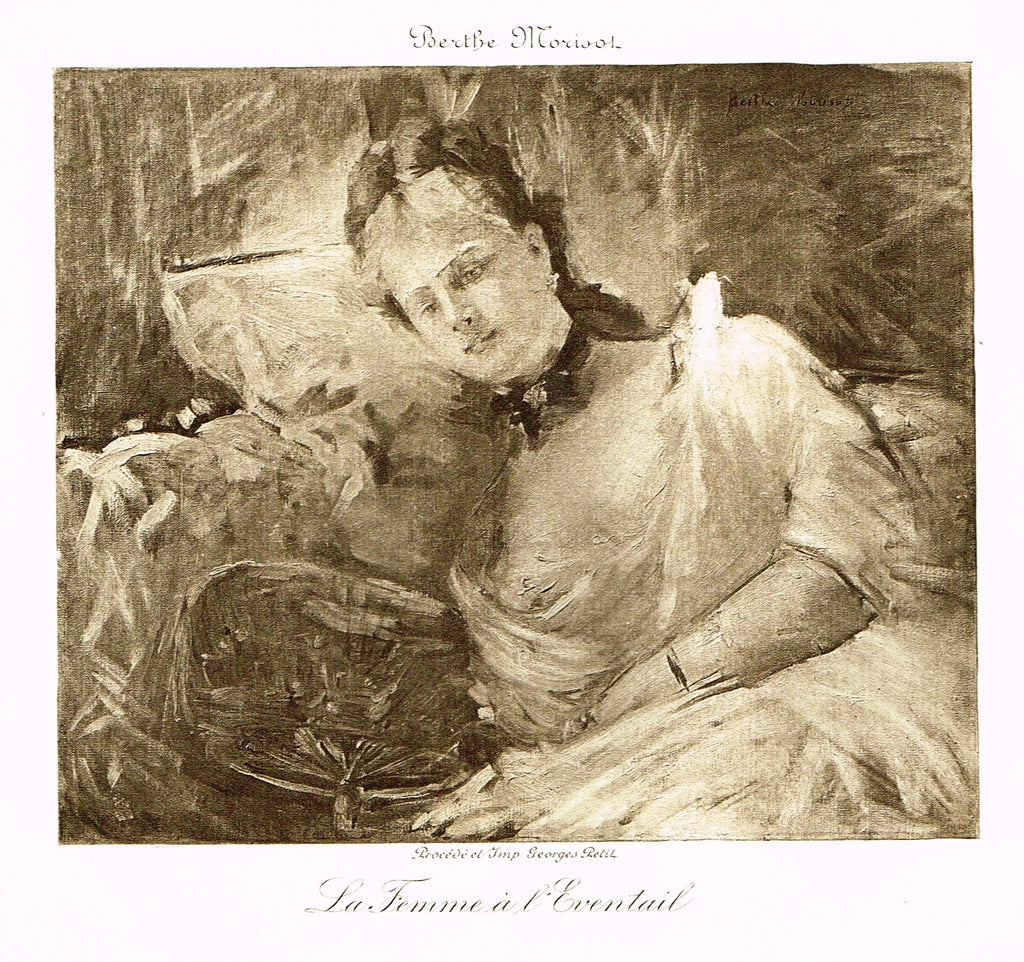 "Fine Art - Etching - ""LA FEMME A L'EVENTAIL"" from Berthe Morisot , Etched by Georges Petit  - c1880"