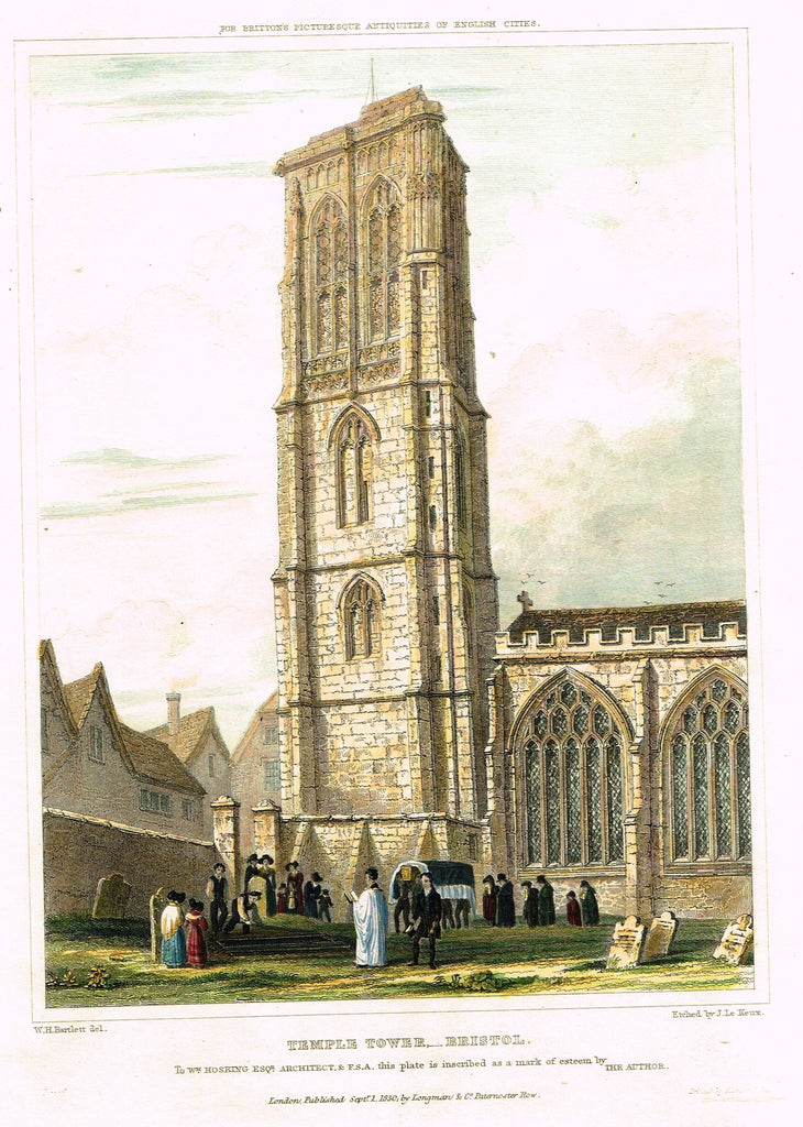 "Bartlett's ""TEMPLE TOWER, BRISTOL"" - from Britton's Picturesque Antiquities - Steel Engraving - 1830"