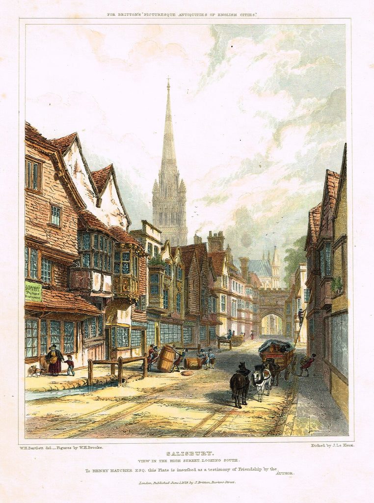 "Bartlett's ""SALISBURY"" - from Britton's Picturesque Antiquities - Steel Engraving - 1830"