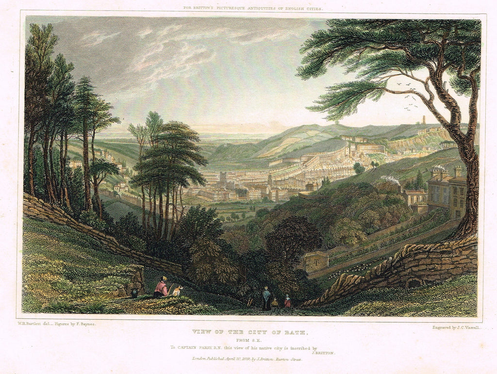 Bartlett's VIEW OF THE CITY OF BATH - from Picturesque Antiquities - Steel Eng. - 1830