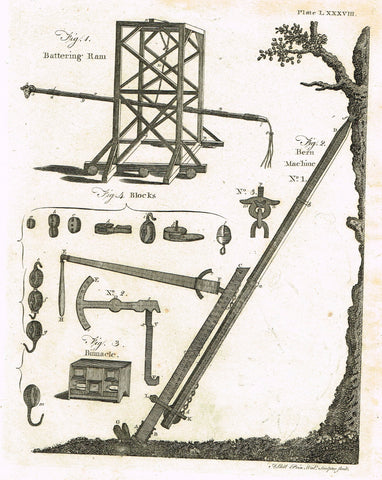 "Encyclopedia Britannica - 1771 - ""BATTERING RAM"" - Plate LXXXCIII - Copper Engraving"