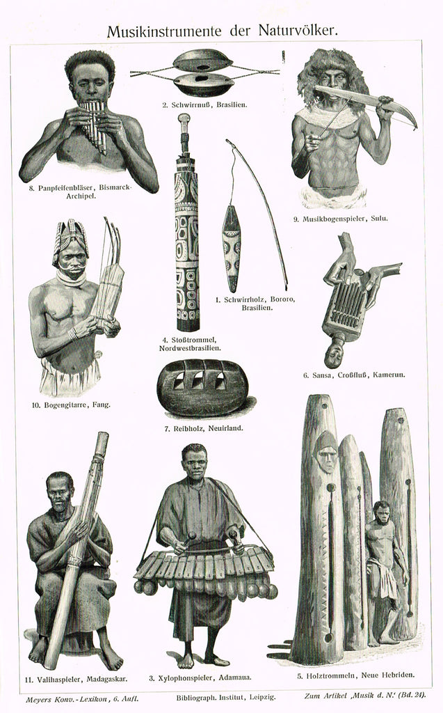 "Meyer's Lexicon - 1913 - ""MUSICAL INSTRUMENTS OF THE NATIVES"" -  Lithograph"