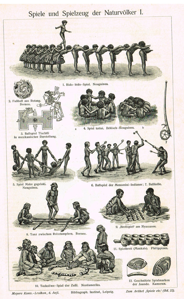 "Meyer's Lexicon - 1913 - ""GAMES AND TOYS OF THE NATIVES"" -  Lithograph"