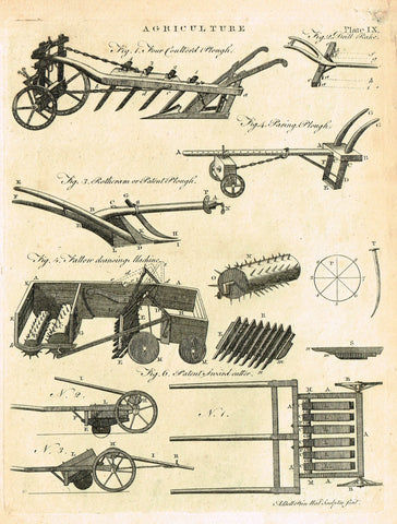 "Encyclopedia Britannica - 1771 - ""AGRICULTURE - ROTHERAM PLOUGH"" - Plate IX - Copper Engraving"