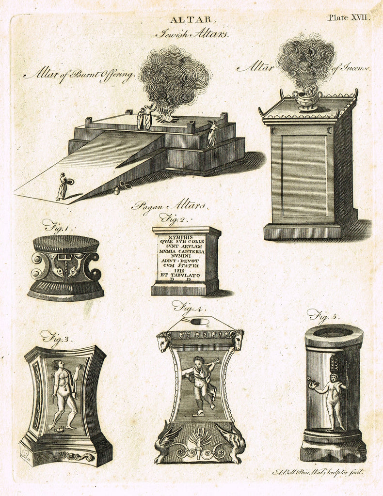 "Encyclopedia Britannica - 1771 - ""JEWISH ALTARS"" - Plate XVII - Copper Engraving"