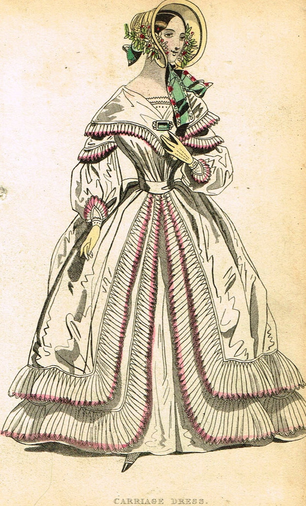 "Lady's Cabinet Fashion Print - c1840 - ""CARRIAGE DRESS"" - Hand-Colored Copper Engraving"