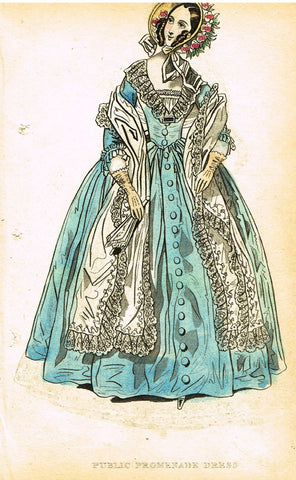 "Lady's Cabinet Fashion Print - c1840 - ""PUBLIC PROMENADE DRESS"" - Hand-Colored Copper Engraving"