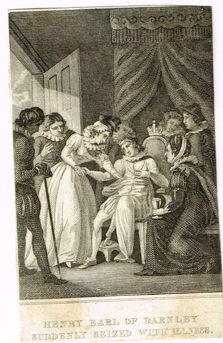 Misc. Miniature Genre Scenes - HENRY, EARL OF CARNLEY WITH ILLNESS - Engraving - c1840