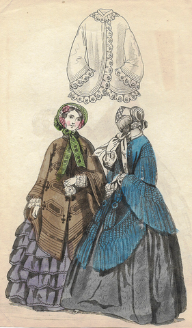 "French Fashion Plate - c1850 - ""TWO WOMEN IN COATS"" -  H-C Lithograph"