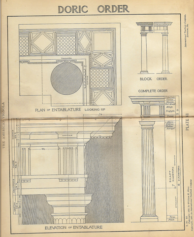 "American Vignola Architecture - ""DORIC - Plate VI"" - Lithograph  - 1902 - Sandtique-Rare-Prints and Maps"