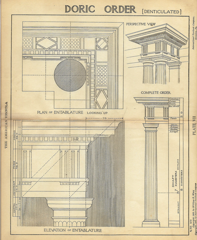 "American Vignola Architecture - ""DORIC ORDER (Denticulated) - Plate VII"" - Lithograph  - 1902 - Sandtique-Rare-Prints and Maps"