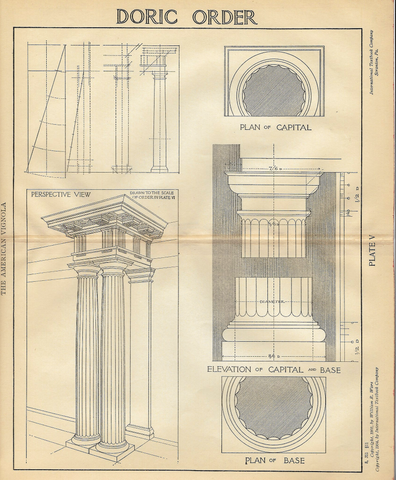 "American Vignola Architecture - ""DORIC ORDER - Plate V"" - Lithograph  - 1902 - Sandtique-Rare-Prints and Maps"
