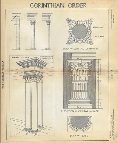 "American Vignola Architecture - ""CORINTHIAN ORDER - Plate X"" - Lithograph  - 1902 - Sandtique-Rare-Prints and Maps"