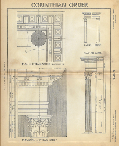 "American Vignola Architecture - ""CORINTHIAN ORDER - Plate XI"" - Lithograph  - 1902 - Sandtique-Rare-Prints and Maps"