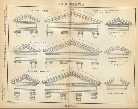 "American Vignola Architecture - ""PEDIMENTS"" - Lithograph  - 1902 - Sandtique-Rare-Prints and Maps"