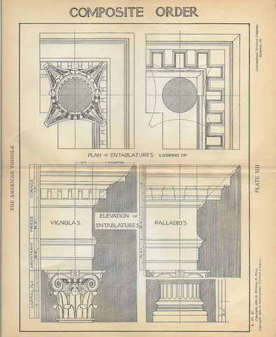 "American Vignola Architecture - ""COMPOSITE ORDER"" - Lithograph  - 1902 - Sandtique-Rare-Prints and Maps"