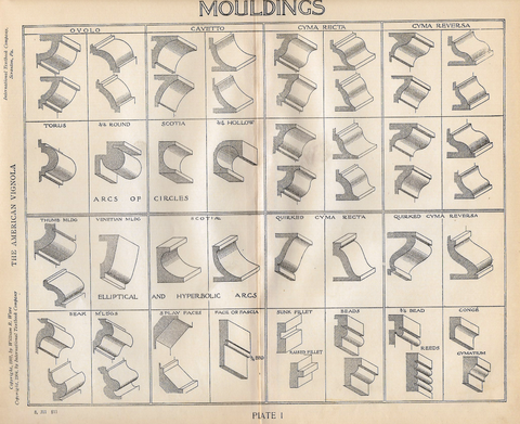 "American Vignola Architecture - ""MOULDINGS"" - Lithograph  - 1902 - Sandtique-Rare-Prints and Maps"