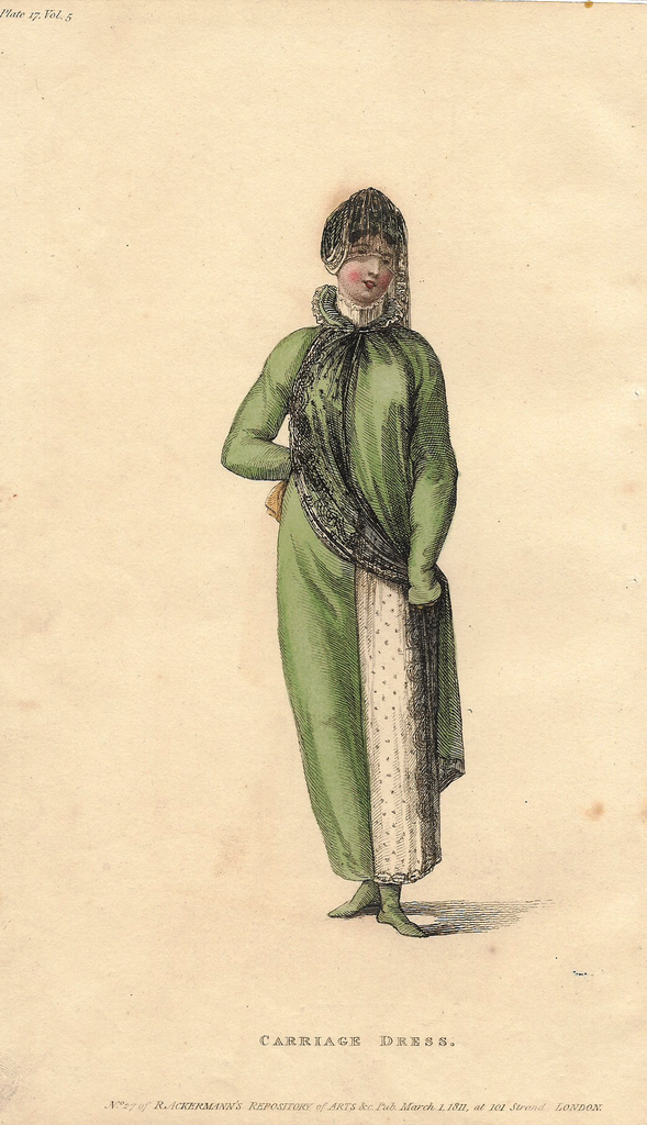 "Ackermann's Fashion Print - 1811 - ""CARRIAGE DRESS"" - Hand Colored Copper Engraving - Sandtique-Rare-Prints and Maps"
