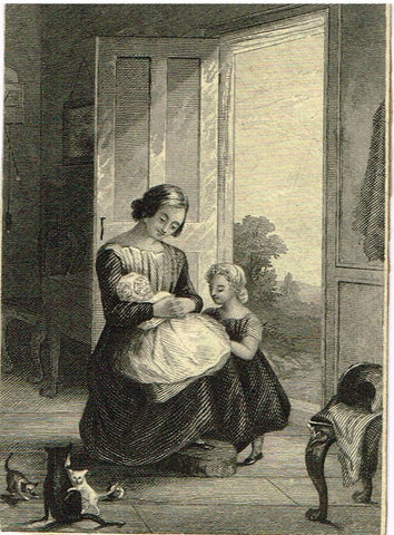 "Misc. Miniature GENRE Print - ""MOTHER WITH CHILDREN & CATS"" - Steel Engraving - c1830"