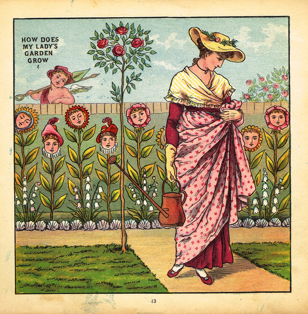 "Walter Crane Baby's Opera - ""HOW DOES MY LADY'S GARDEN GROW"" - Children's Lithogrpah - 1870"