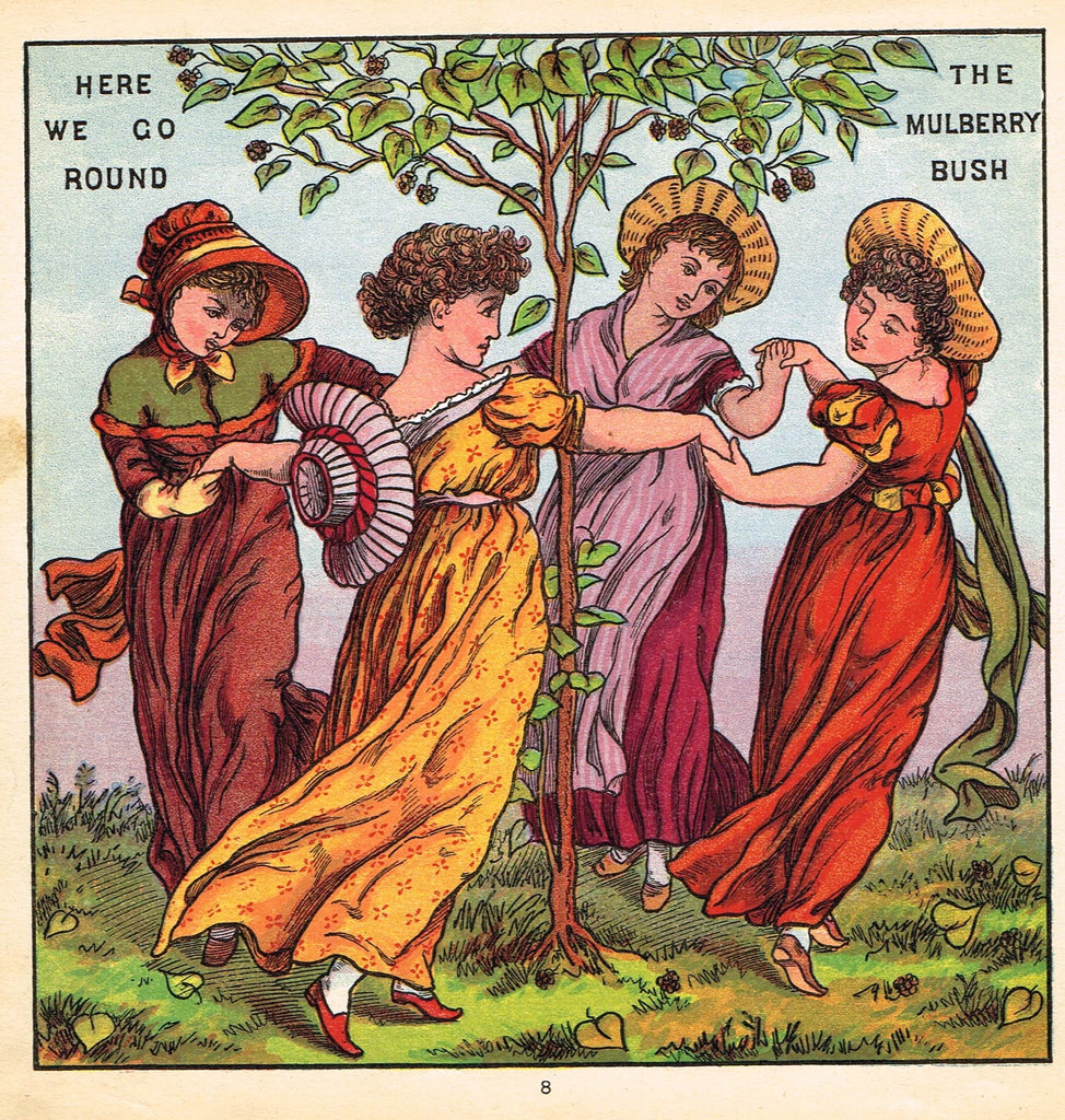 "Walter Crane Baby's Opera - ""THE MULBERRY BUSH"" - Children's Lithogrpah - 1870"
