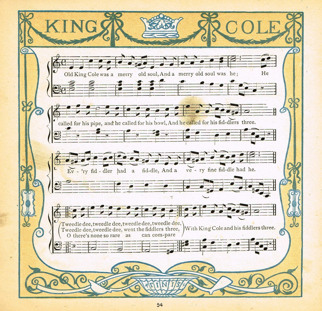 "Walter Crane Baby's Opera - ""KING COLE SONG"" - Children's Lithogrpah - 1870"